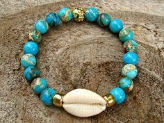 Lava Bracelet, Shell Bracelet, Bracelet Making, Jewelry Making, Rustic Jewelry, Beaded Jewelry, Beaded Bracelets, Jewellery, Handmade Bracelets
