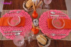 Mesa pink e laranja de Páscoa [http://www.tabletips.com.br]