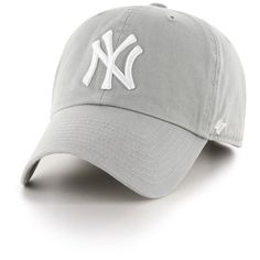 Women's 47 Brand Ny Yankees Baseball Cap ($25) ❤ liked on Polyvore featuring accessories, hats, grey, grey hat, gray baseball hat, gray baseball cap, baseball hats and ny yankees hat