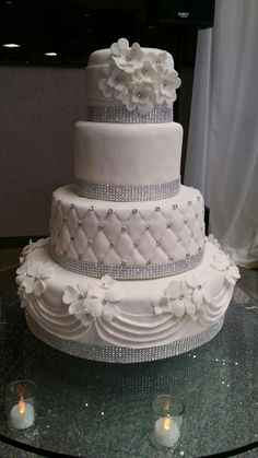 Bling Wedding Cakes, White Wedding Cakes, Elegant Wedding Cakes, Fondant Cakes, Cupcake Cakes, Cupcakes, Dessert Food, Dessert Recipes, Desserts