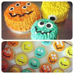 """cakes & sugar cookies for a """"little monster"""" baby shower would be perfect for my little nephew William for his first birthday"""
