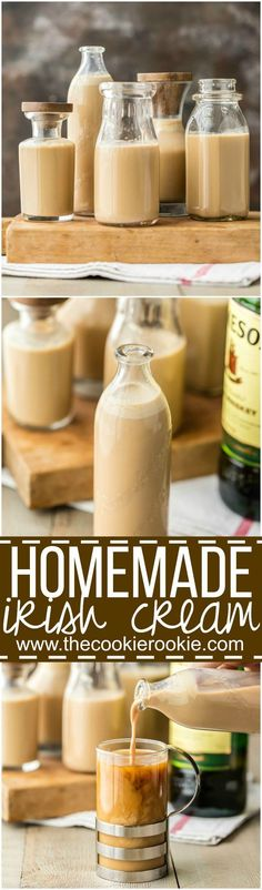 Homemade Irish Cream ~ You will never guess how easy to make this! Such a great addition to cocktails, coffee, or ice cream and perfect whiskey cocktail for St. (Easy Desserts Cheap And) Homemade Baileys, Homemade Irish Cream, Baileys Recipes, Homemade Liquor, Baileys Irish Cream, Irish Recipes, Homemade Whiskey, Homemade Alcohol, Homemade Gifts