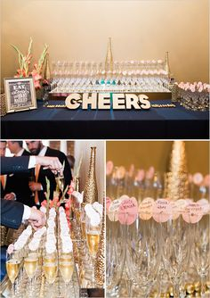 cheers | champagne bar ideas | elegant wedding | pink and gold wedding | #weddingchicks