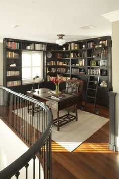 Loft idea for office and library, just needs some comfy reading chairs. I like this idea, if you don't have an extra room to make into an office, use whatever extra space you do have.