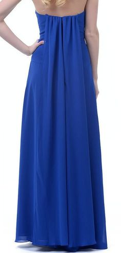 Strapless Chiffon Bridesmaids Formal Evening Long Prom Gown - The Dress Outlet - 11