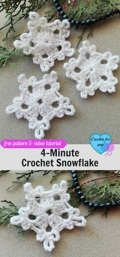 Crochet Flowers Pattern Crochet Snowflake - free pattern - Believe me, friends, this snowflake can make in 5 minutes. So I named it Crochet Snowflake. Also, this pattern requires less than 5 yards. Crochet Christmas Decorations, Christmas Crochet Patterns, Holiday Crochet, Crochet Gifts, Diy Crochet Ornaments, Crochet Motifs, Crochet Flower Patterns, Crochet Flowers, Crochet Stitches