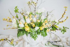 soulfoodstudio shop, tulip bouquet, Constance Spry style vase, Constance Spry style flowers, forsythia, wild plum, daffodils and tulips, interior stylist, interior designer
