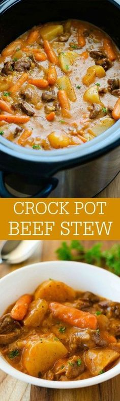 The most delicious beef stew  slow cooked in the crock pot
