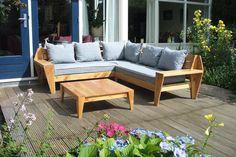 Make it yourself: Outdoor Lounge Sofa   Zelfgebouwde Lounge hoekbank 'Leon' door Robert met werktekeningen van meubelwerktekening.nl