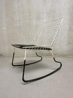 Cees Braakman; Enameled Metal 'Flamingo' Rocking Chair for Pastoe, c1960.