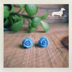 Periwinkle Petals Flower Post Earrings  by PickleDogDesign on Etsy, $8.00