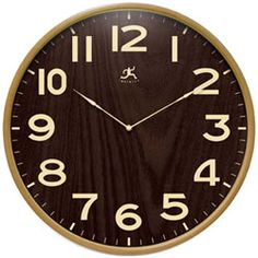 Infinity Instruments Bentwood Small wall clock is a wood wall clock with a very modern/contemporary style. Large easy to read numbers this beautifully crafted wall clock will look goo din almost any setting. Wall Clock Brass, Wall Clock Light, Wood Clocks, Unique Ceiling Fans, Tabletop Clocks, Clock Decor, Home Wall Decor, New Wall, Dark Wood