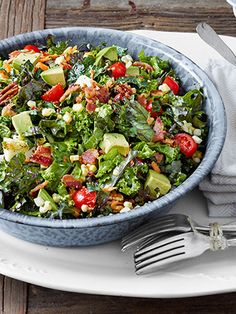 Chopped Collard and Kale Salad with Lemon-Garlic Dressing