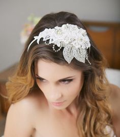 Lace Bridal Headband Silver Crystal Bridal Hair by GildedShadows Silver Headband, Lace Headbands, Bridal Headbands, Wedding Headdress, Wedding Veils, Wedding Hair And Makeup, Hair Ornaments, Bridal Hair Accessories, Bridal Lace