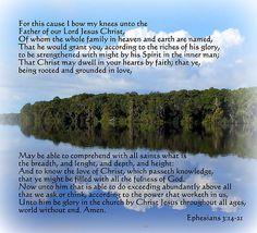 Paul's Prayer For Spiritual Growth Ephesians 3:14-21.