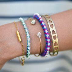 Make this fun rhinestone rope bracelet in a few easy steps.  A great way to add a punch of color to your spring outfit!