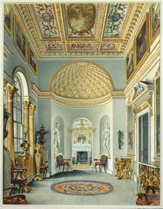The Gallery at Chiswick Villa in a 1828 watercolor by William Henry Hunt. Devonshire Collection, Chatsworth. Image via BGC. Via The Devoted Classicist