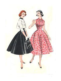 1950s Princess Dress Sunburst Neckline / by treazureddesignz