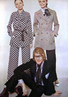 Fashion Designer Yves Saint Laurent and his models, present his creations.Brazilian Magazine:Claudia,March 1969.