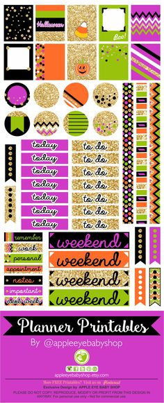 Halloween FREE Planner PRINTABLES | Filofax, Erin Condren, Life Planner, Agendas, Notecards, Organizing/Gift Labels, Notebooks, Stickers, Stationary, Journals, Plum Paper. DIY Crafts, Cricut or Silhouette Projects & more... Gold Glitter, Black, Purple, Green, Orange. DOWNLOAD - PRINT & CUT. By Apple Eye Baby Shop