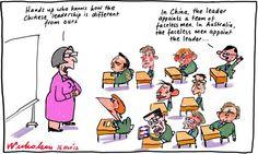 Chinese leadership system contrat with Australia cartoon 16 November 2012