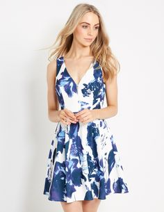 Image for Blue Floral Fit N Flare Dress from Dotti NZ