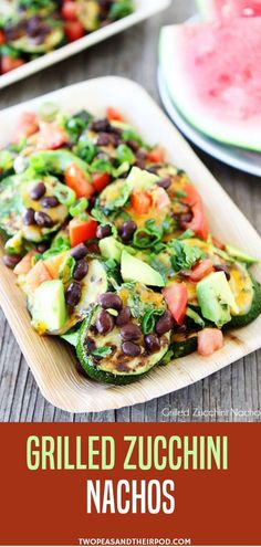 Grilled Zucchini Nachos-use zucchini as the chips and top with all of your favorite nacho toppings! A great recipe to use up the summer zucchini! Put your garden zucchini to good use make Grilled Zucchini Nachos. And if your neighbors knock on your door Grilling Recipes, Lunch Recipes, Easy Dinner Recipes, Vegetarian Recipes, Mexican Recipes, Mexican Meals, Mexican Cooking, Smoker Recipes, Veggie Recipes