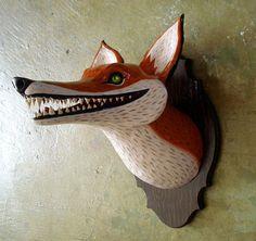 Mounted fox head by Allison Reimold My kind of Taxidermy Paper Mache Sculpture, Sculpture Art, Paper Mache Animals, Paper Mache Animal Heads, Paper Mache Crafts, 3d Studio, Faux Taxidermy, Art Textile, Inspiration Art
