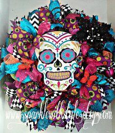 Day of the Dead Wreath  Sugar Skull  Día de by SparkleWithStyle