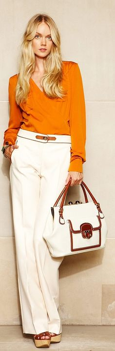 Oh my! Not just the fabulous color of the blouse, but the sheen of the material. And the pant color is perfect.