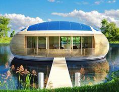Ein Hausboot der besonderen Art ist das WaterNest 100, ein wunderschöner runder ökologischen Lebensraum. Entworfen vom Architekten Giancarlo Zema und EcoFloLife hat es sich in jahrelanger Entwicklung zu einer solarbetriebenen völlig harmonisch in die Natur passenden Lebensinsel entwickelt.
