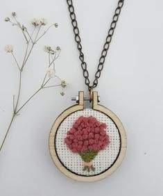 Embroidery necklace etamin kolye  #pink #embroidery