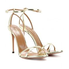 Aquazzura Selene Mirrored-Leather Sandals (€340) ❤ liked on Polyvore featuring shoes, sandals, heels, sapatos, high heels, aquazzura shoes, heeled sandals, high heel sandals, high heel shoes and aquazzura