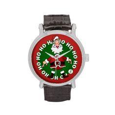 Santa Claus Ho Ho Ho Wrist Watch #Zazzle #Cardvibes #Tekenaartje #Christmas