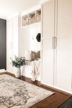Our DIY Mudroom Built in Ikea Hack - A Brick Home by Marly Dice - - We love this awesome IKEA hack for making DIY mudroom built ins. This DIY mudroom was so budget-friendly and didn't require too much custom building. Mudroom Cabinets, Mudroom Laundry Room, Ikea Cabinets, Bench Mudroom, Ikea Laundry Room Cabinets, Living Room Built In Cabinets, Hallway Storage Cabinet, Tall Cabinets, Wardrobe Cabinets
