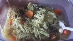 Katie's BEST chicken noodle soup for IP.. 1 pkg large chicken drumsticks(6 legs),1 handful chopped curly parsley,1 handful dill chopped,1/2 large onion chopped in quarter pieces,1 cup celery chopped,peeled & chopped parsnips about 6 or 7,peeled & chopped carrots about 6 or 7,salt,pepper,7 bullion cubes herbox brand, IP manual 7 min, than release...add 1 bag pennysalvania dutch shredded noodles minus 1 cup, put noodles down into broth a little than..IP 1 min manual release pressure