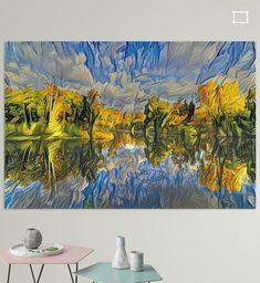 Digitaal kunstwerk gebaseerd op originele foto; Bosmeer reflectie in herfstkleuren; Amsterdamse Waterleidingduinen Zandvoort. <br>Prachtige reflectie van wolken en bomen bij een meer in het bos in herfstkleuren. Originele foto genomen in de buurt van Zandvoort in de Amsterdamse Waterleidingduinen.<br><br>DeAmsterdamse Waterleidingduinenis eenduingebiedtussenZandvoort(Noord-Holland) en deLangevelderslagin de gemeenteNoordwijk(Zuid-Holland).<br>Het duingebied is ingericht voor de winnin Amsterdam, Canvas, Wall, Prints, Poster, Painting, Tela, Painting Art, Canvases