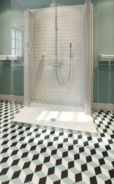 Arthotel Blaue Gans | Art and Design Hotel | Salzburg | Austria | http://lifestylehotels.net/en/arthotel-blaue-gans | bathroom, industrial style, white, glass shower, geometric tiles