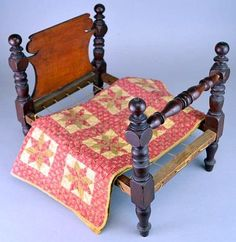 19th Century Sheraton Rope Doll Bed and Quilt.