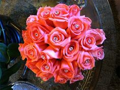 Sheri's Flowers - Bouquets  Coral roses with crystals
