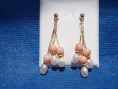 14k Angel Skin Coral and Freshwater Pearls Earrings by motique808, $63.50