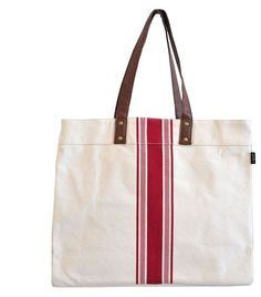 """Stripe Red Carryall Tote 18"""" x 14"""" x 6"""" Printed on recycled canvas with eco-friendly pigment inks. featuring interior pockets, water-resistant lining, strap and hook to attach our pouches."""