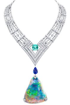 Louis Vuitton Acte V Genesis necklace featuring a 87.92ct Australian black opal and Vuitton's signature star-cut diamonds.