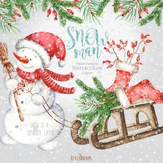 Snowman Watercolor Christmas Clipart Holiday Winter by ReachDreams Merry Christmas, Christmas Truck, Christmas Clipart, Christmas Snowman, Christmas Stockings, Christmas Wood, Christmas Pictures, Xmas, Elf Clipart