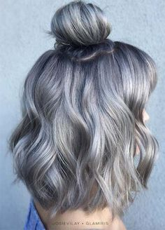 Granny Silver/ Grey Hair Color Ideas: Deep Grey Medium-Length Hair