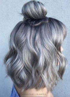 Granny Silver/ Grey Hair Color Ideas: Deep Grey Medium-Length Hair