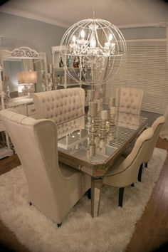 "Just Fab! Amazing dining room transformation. I want to know how she got her husband to go along with all the ""plush-ness""."