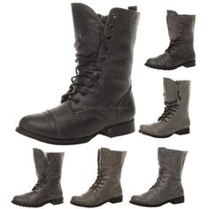 WOMENS LADIES MILITARY LOW HEEL FLAT LACE UP BIKER ARMY COMBAT ANKLE BOOTS SIZE | eBay £16.49