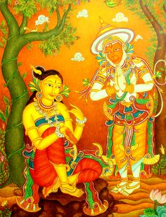 arjuna-vallabha:  Hanuman meets Sita, Kerala mural painting   At your service Misstres
