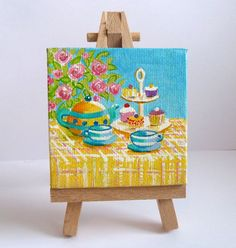 Tiny Tea For Two Original Acrylic Painting on by JewellsArtUK